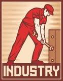 Trabajador que sostiene la llave ilustración del vector