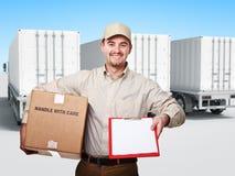 Trabajador sonriente Foto de archivo libre de regalías