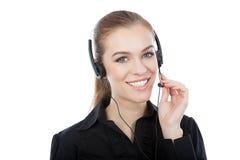 Trabajador sonriente del servicio de atención al cliente foto de archivo libre de regalías