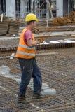 Trabajador sudoroso del edificio de la construcción Fotografía de archivo libre de regalías