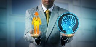 Trabajador y AI App de Balancing One Female del encargado foto de archivo