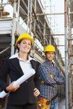 Trabajador y arquitecto de construcción Foto de archivo libre de regalías