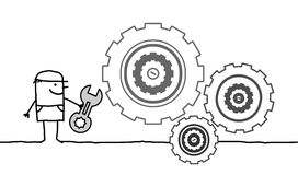 Trabajador y engranajes Imagen de archivo