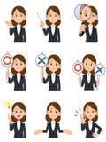 Trabajadoras 9 clases de gestos y de expresiones faciales stock de ilustración