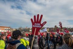 Trabajadores daneses del gobierno que protestan para mejores condiciones de trabajo Imagen de archivo