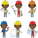 Trabajadores de construcción afroamericanos stock de ilustración