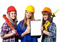 Trabajadores de construcción de sexo femenino fotografía de archivo libre de regalías