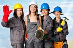 Trabajadores de construcción de sexo femenino Fotos de archivo