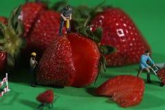 Trabajadores de construcción en imágenes conceptuales de la comida con Strawberrie Foto de archivo libre de regalías