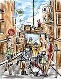 Trabajadores de construcción que construyen una ciudad Imágenes de archivo libres de regalías