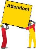Trabajadores de construcción que sostienen el cartel Fotografía de archivo