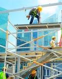 Trabajadores de construcción, Singapur Fotografía de archivo libre de regalías