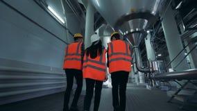 Trabajadores de la cervecería que caminan en un cuarto de la instalación, opinión de la parte posterior metrajes
