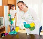 Trabajadores de la compañía de la limpieza foto de archivo libre de regalías