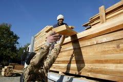 Trabajadores de madera de la industria Imágenes de archivo libres de regalías