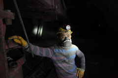 Trabajadores de mina chinos Fotos de archivo libres de regalías