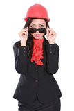 Trabajadores de sexo femenino del contratista que llevan las gafas de sol Foto de archivo libre de regalías