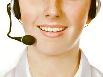Trabajadores del centro de atención telefónica que llevan las auriculares Fotografía de archivo libre de regalías