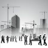 Trabajadores del emplazamiento de la obra stock de ilustración