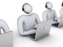 Trabajadores del servicio de atención al cliente en fila Imagen de archivo libre de regalías
