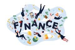 Trabajadores del sistema de las finanzas, banqueros acertados, corredores de bolsa, analistas con los billetes de banco, monedas, libre illustration