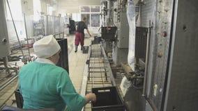Trabajadores en la fábrica para la producción y empaquetar de los productos lácteos metrajes