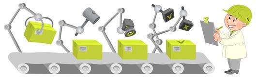 Trabajadores en la operación de fábrica ilustración del vector