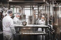 Trabajadores en la quesería que prepara el queso del Ricotta foto de archivo libre de regalías