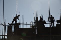 Trabajadores en un sitio del contruction en China Imagen de archivo