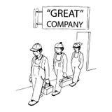 Trabajadores encendidos ilustración del vector