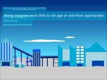 Trabajadores jovenes en industria de los peligros stock de ilustración