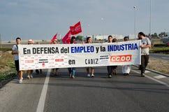 Trabajadores no identificados en la demostración Imagen de archivo