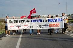 Trabajadores no identificados en la demostración Fotografía de archivo