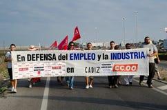 Trabajadores no identificados en la demostración Imágenes de archivo libres de regalías