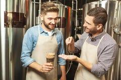 Trabajadores que comprueban los granos del salto para saber si hay producción de la cerveza imagenes de archivo