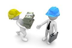 Trabajadores que llevan el dinero ilustración del vector