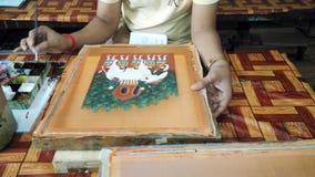 Trabajadores que pintan artes en Camboya Fotografía de archivo libre de regalías