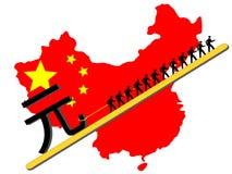 Trabajadores que tiran de la muestra de Yuan Fotografía de archivo
