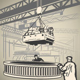 Trabajadores y grúa stock de ilustración