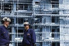 Trabajadores y sector de la construcción del edificio Fotografía de archivo