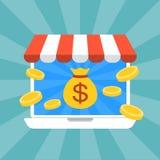 Trabajando y haciendo el dinero en línea Foto de archivo libre de regalías