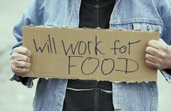 Trabajará para el alimento Imágenes de archivo libres de regalías