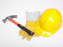 Trabaje el casco y los glowes del sombrero duro del sombrero duro del equipo Foto de archivo libre de regalías