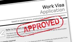 trabaje el documento de la solicitud de visado para la estancia temporal con el sello aprobado stock de ilustración