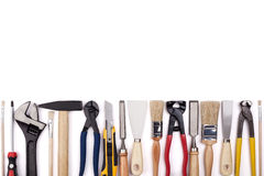 Trabaje las herramientas en el fondo blanco Imagen de archivo