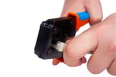 Trabajo con Ethernet y la herramienta del prensado del teléfono Fotografía de archivo
