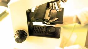 Trabajo con un microscopio Microscopio del laboratorio Determinación del microscopio metrajes