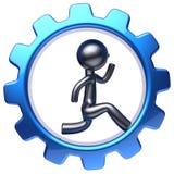 Trabajo corriente del carácter del hombre de negocios del individuo de la historieta de la rueda de engranaje Ilustración del Vector