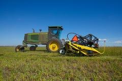 Trabajo cosechando la cosechadora en el campo del trigo imágenes de archivo libres de regalías