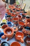 Trabajo de arte de la terracota, artesanías indias justas en Kolkata Fotografía de archivo